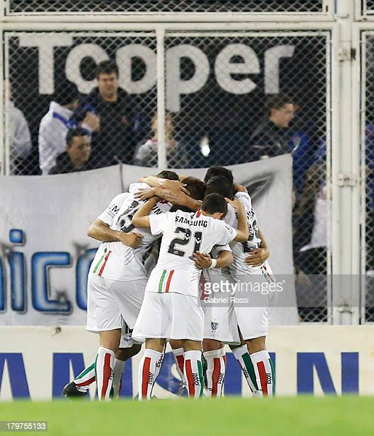 Players of Velez Sarsfield celebrate a goal during a match between Velez Sarsfield and Newell's Old Boys as part of the sixth round of Torneo Inicial...