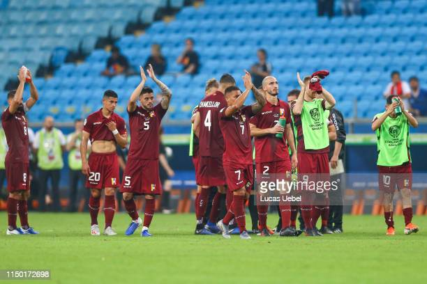 Players of Venezuela acknowledge the fans after the Group A match between Venezuela and Peru during Copa America Brazil 2019 at Arena do Gremio...