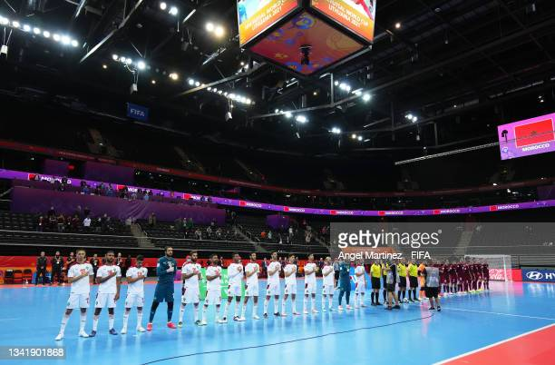 Players of Venezuela and Morocco line up ahead of the FIFA Futsal World Cup 2021 Round of 16 match between Venezuela and Morocco at Kaunas Arena on...