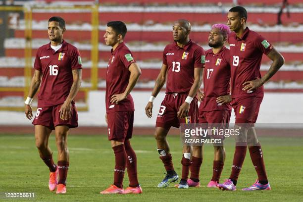Players of Venezuela are seen after losing 3-1 to Bolivia in their South American qualification football match for the FIFA World Cup Qatar 2022 at...