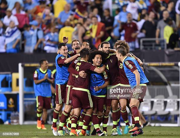 Players of Venezuela celebrate after defeating Uruguay in the Copa America Centenario football tournament in Philadelphia Pennsylvania United States...