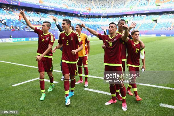 Players of Venezuela celebrate after the FIFA U20 World Cup Korea Republic 2017 group B match between Venezuela and Germany at Daejeon World Cup...
