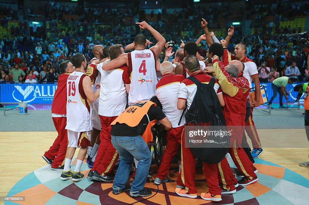 Players of Venezuela celebrate after winning a final match between Venezuela and Argentina as part of the 2015 FIBA Americas Championship for Men at Palacio de los Deportes on September 12, 2015 in Mexico City, Mexico.