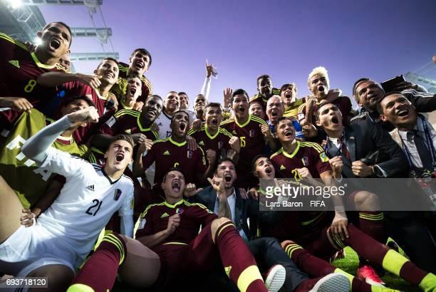 Players of Venezuela celebrate after winning the FIFA U20 World Cup Korea Republic 2017 Semi Final match between Uruguay and Venezuela at Daejeon...