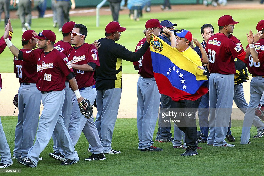 Players of Venezuela celebrate during the Caribbean Series 2013 at Sonora Stadium on February 03, 2013 in Hermosillo, Mexico.