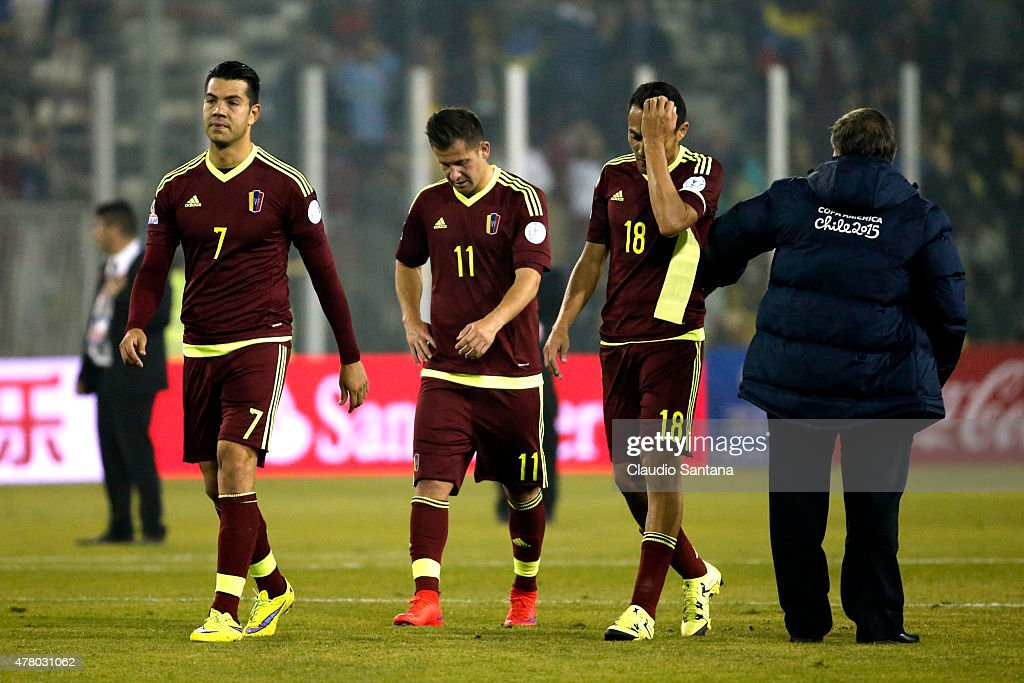 Players of Venezuela leave the field after the 2015 Copa America Chile Group C match between Brazil and Venezuela at Monumental David Arellano Stadium on June 21, 2015 in Santiago, Chile.