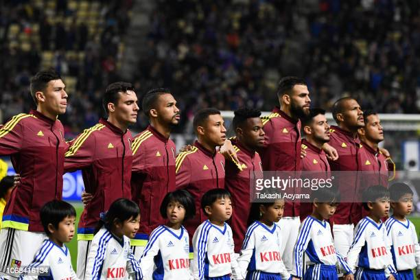 Players of Venezuela line up for the national anthem prior to the international friendly match between Japan and Venezuela at Oita Bank Dome on...