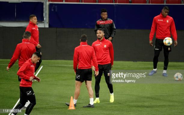 Players of Venezuela National Football Team attend a training session ahead of friendly match against Argentina National Football Team at Wanda...