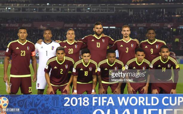 Players of Venezuela pose for a photo prior to the first during a match between Argentina and Venezuela as part of FIFA 2018 World Cup Qualifiers at...