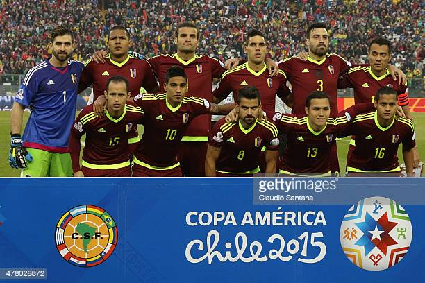Players of Venezuela pose for a team photo prior the 2015 Copa America Chile Group C match between Brazil and Venezuela at Monumental David Arellano...