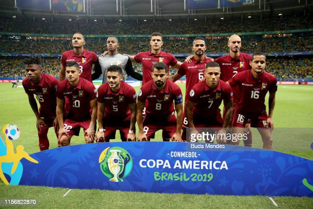 Players of Venezuela pose for the team photo during the Copa America Brazil 2019 group A match between Brazil and Venezuela at Arena Fonte Nova on...