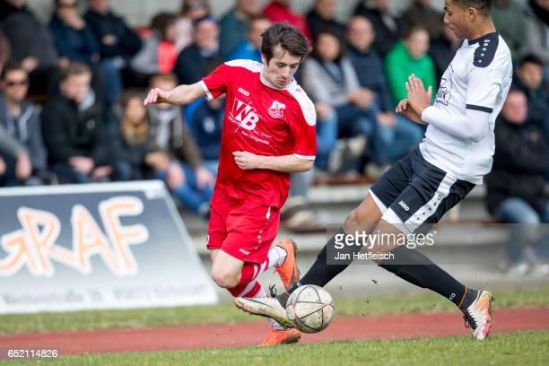Players of VfB Eichstatt and TSV Aubstadt compete for the ball on March 11 2017 in Eichstatt Germany The Bavarian Football Association introduces a...