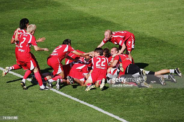 Players of VfB Stuttgart celebrate winning the German championships after the Bundesliga match against Energie Cottbus at the Gottlieb-Daimler...