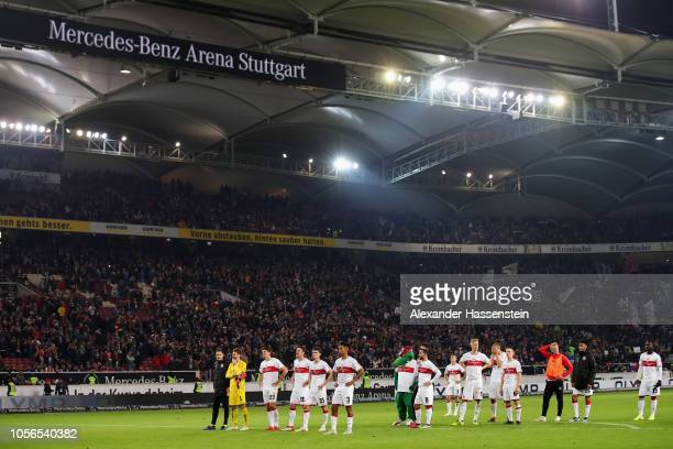 Players of VfB Stuttgart look dejected after defeat in the Bundesliga match between VfB Stuttgart and Eintracht Frankfurt at MercedesBenz Arena on...