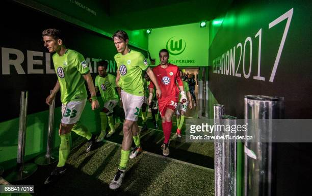 Players of VfL Wolfsburg enter the pitch for the second half during the Bundesliga Playoff Leg 1 match between VfL Wolfsburg and Eintracht...