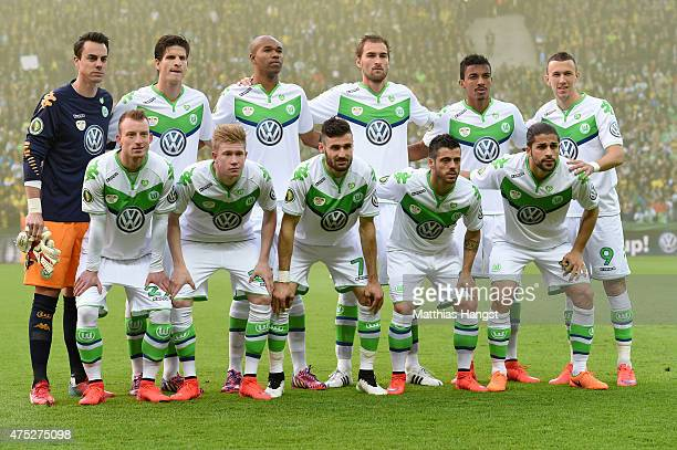 Players of VfL Wolfsburg line up prior to the DFB Cup Final match between Borussia Dortmund and VfL Wolfsburg at Olympiastadion on May 30 2015 in...