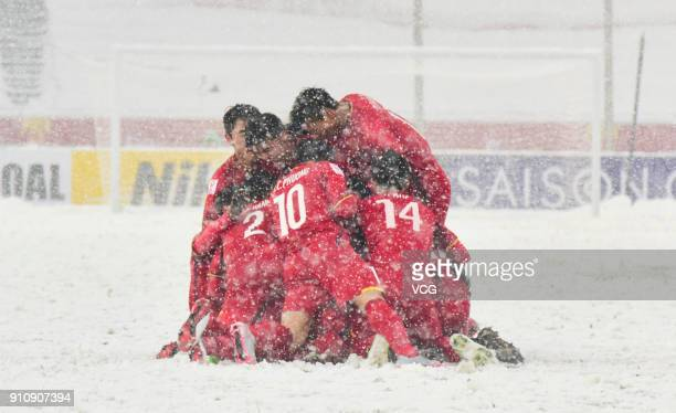 Players of Vietnam celebrate a point during the AFC U23 Championship China 2018 final match between Vietnam and Uzbekistan at Changzhou Olympic...