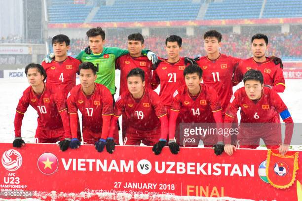 Players of Vietnam line up prior to the AFC U23 Championship China 2018 final match between Vietnam and Uzbekistan at Changzhou Olympic Sports Center...