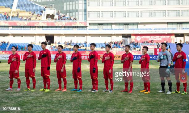 Players of Vietnam line up prior to the AFC U23 Championship Group A match between Vietnam and Australia at Kunshan Sports Center on January 14 2018...