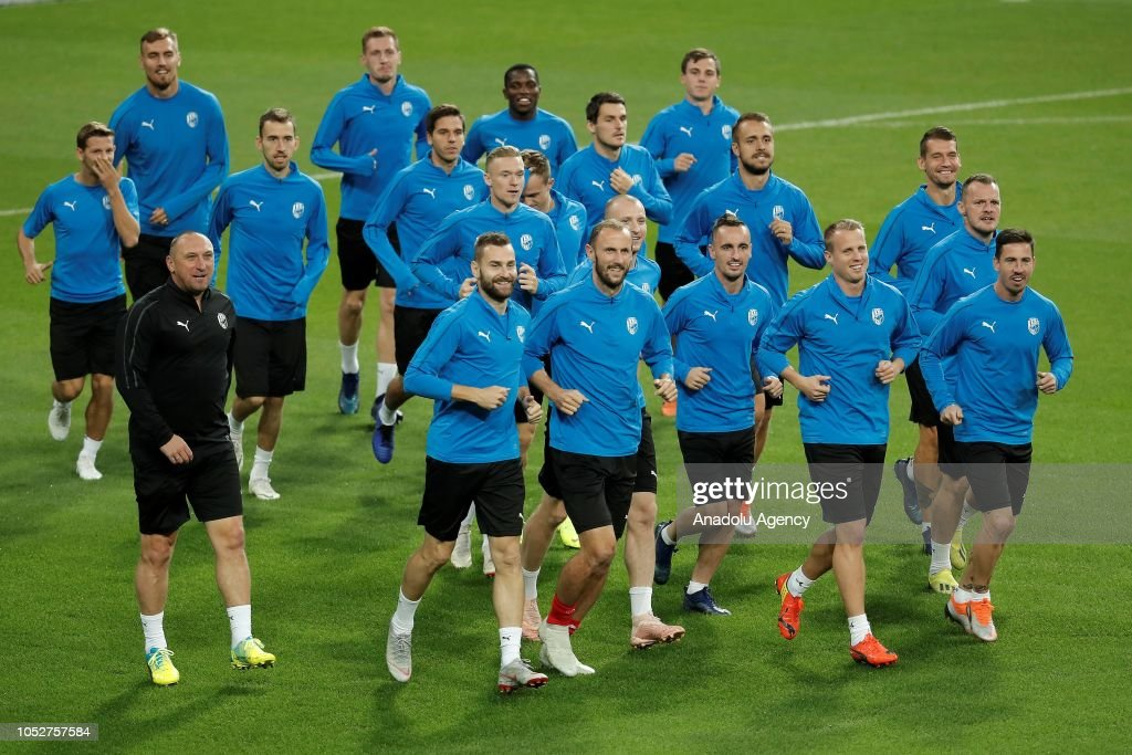 Viktoria Plzen's training session in Madrid : News Photo