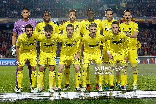 Players of Villareal pose for photographers before the UEFA Europa League Quarter Final second leg match between Sparta Prague and Villareal CF on...