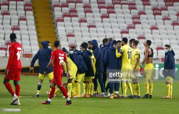 Players of Villarreal celebrate after winning the UEFA Europa League Group I match between Demir Grup Sivasspor and Villarreal at the 4 Eylul Stadium...