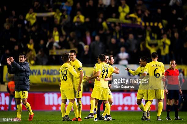 Players of Villarreal CF celebrate after the La Liga match between Villarreal CF and Real Madrid CF at El Madrigal on December 13 2015 in Villarreal...