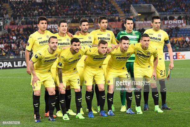 Players of Villarreal FC pose for a photo before the UEFA Europa League soccer match between AS Roma and Villarreal FC at Stadio Olimpico in Rome...