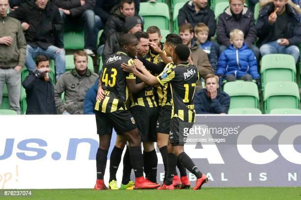 players of Vitesse celebrates 01 during the Dutch Eredivisie match between FC Groningen v Vitesse at the NoordLease Stadium on November 19 2017 in...