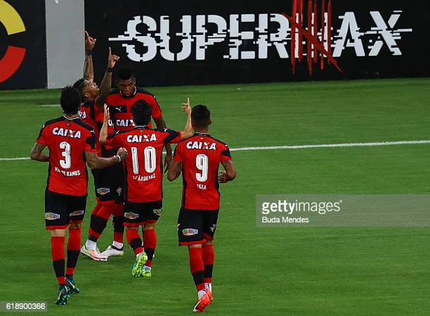 Players of Vitoria celebrate a scored goal during a match between Fluminense and Vitoria as part of Brasileirao Series A 2016 at Maracana stadium on...