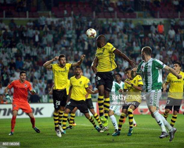 Players of Vitoria Guimaraes in action during the UEFA Europa League Group I soccer match between Atiker Konyaspor and Vitoria Guimaraes at the Konya...