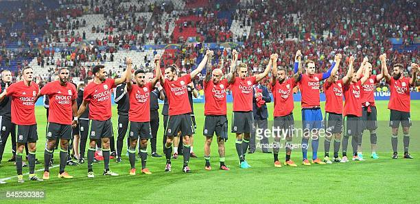 Players of Wales are seen after their defeat following the UEFA Euro 2016 semi final match between Portugal and Wales at Stade de Lyon in Lyon France...