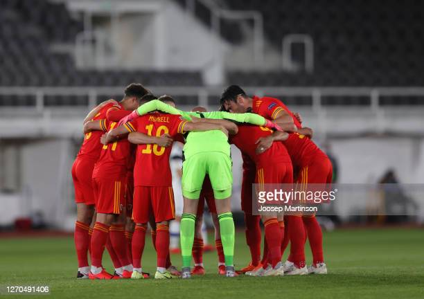 Players of Wales huddle prior to the UEFA Nations League group stage match between Finland and Wales at Helsingin Olympiastadion on September 03 2020...