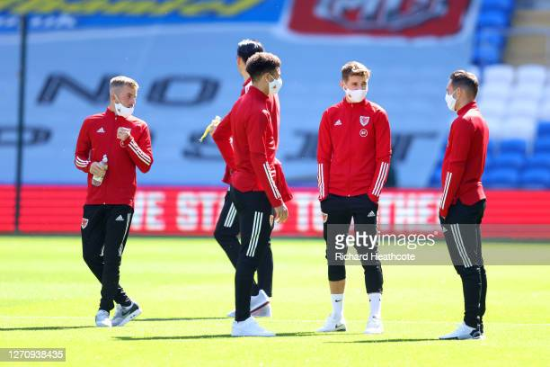 Players of Wales inspect the pitch prior to the UEFA Nations League group stage match between Wales and Bulgaria at Cardiff City Stadium on September...