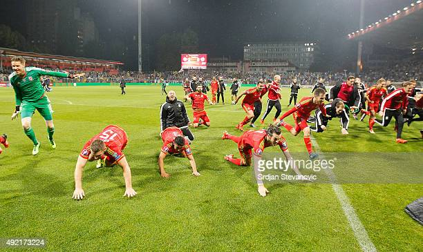 Players of Wales national team celebrate after the Euro 2016 qualifying football match between Bosnia and Herzegovina and Wales at the Stadium Bilino...