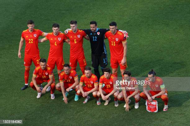 Players of Wales pose for a team photograph prior to the UEFA Euro 2020 Championship Group A match between Wales and Switzerland at the Baku Olympic...