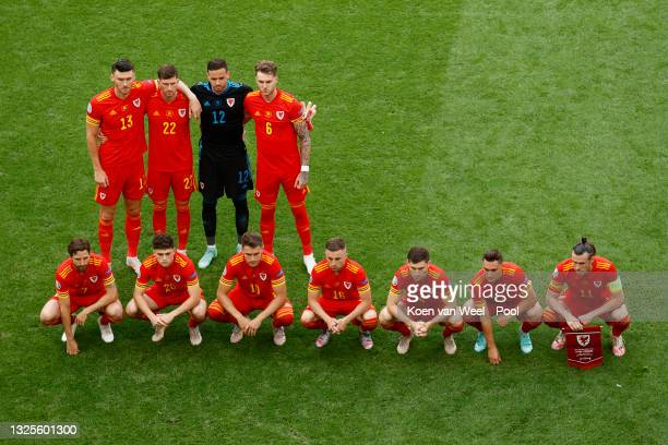 Players of Wales pose for a team photograph prior to the UEFA Euro 2020 Championship Round of 16 match between Wales and Denmark at Johan Cruijff...