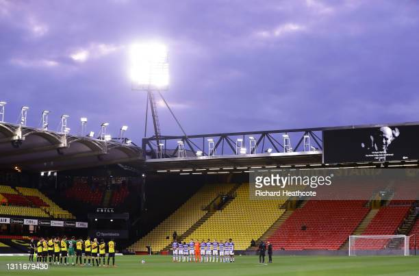 Players of Watford and Reading participate in two mintes' silence to honour Prince Philip, Duke of Edinburgh prior to the Sky Bet Championship match...