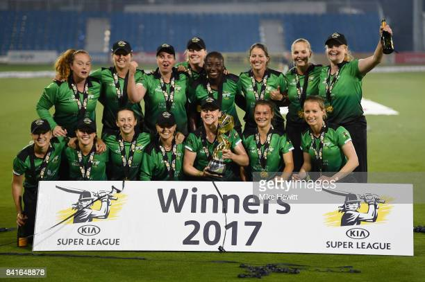 Players of Western Storm celebrates after winning the Women's Kia Super League Final between Southern Vipers and Western Storm at The 1st Central...