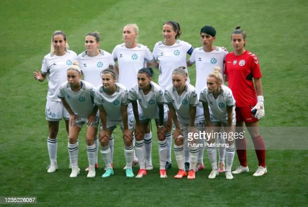 Players of WFC Zhytlobud-1 Kharkiv pose for a photo before the 2021/2022 UEFA Women's Champions League Round 2 2nd leg game against Apollon Ladies FC...