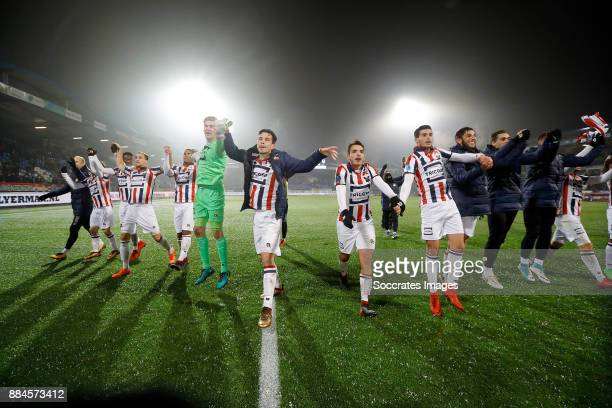 players of Willem II celebrates the victory during the Dutch Eredivisie match between Willem II v Heracles Almelo at the Koning Willem II Stadium on...