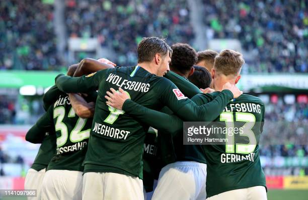 Players of Wolfsburg celebrate the 21 lead during the Bundesliga match between VfL Wolfsburg and 1 FC Nuernberg at Volkswagen Arena on May 4 2019 in...