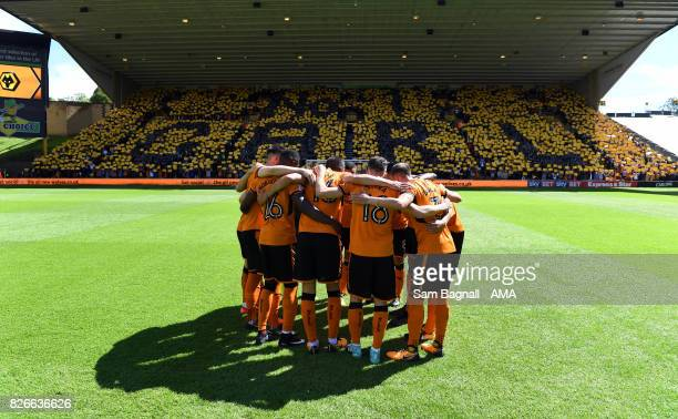 Players of Wolverhampton Wanderers and fans with a message for Carl Ikeme of Wolverhampton Wanderers who is receiving treatment for leukaemia during...