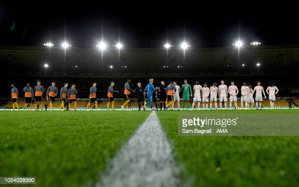 Players of Wolverhampton Wanderers and Manchester United during the Premier League 2 match between Wolverhampton Wanders and Manchester United at...