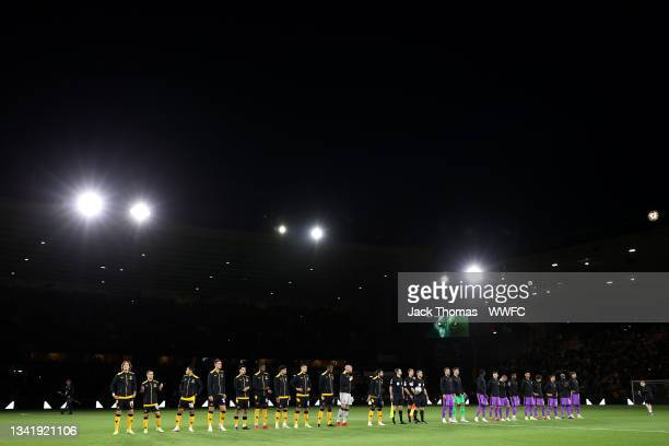 Players of Wolverhampton Wanderers and Tottenham Hotspur line up prior to the Carabao Cup Third Round match between Wolverhampton Wanderers and...