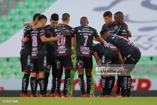 Players of Xolos gather prior the 12th round match between Santos Laguna and Tijuana as part of the Torneo Guard1anes 2020 Liga MX at Corona Stadium...