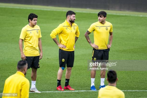 Players of Yeni Malatyaspor exercise during their last training session ahead of the UEFA Europa League second qualifying match between Olimpija...