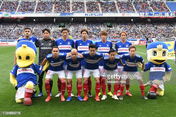 Players of Yokohama FMarinos pose for photographs prior to the JLeague J1 match between Yokohama FMarinos and Kawasaki Frontale at Nissan Stadium on...