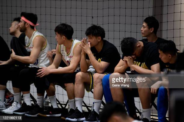 Players of Yulon Luxgen Dino fell into low morale during the SBL Finals Game Six between Taiwan Beer and Yulon Luxgen Dinos at Hao Yu Trainning...
