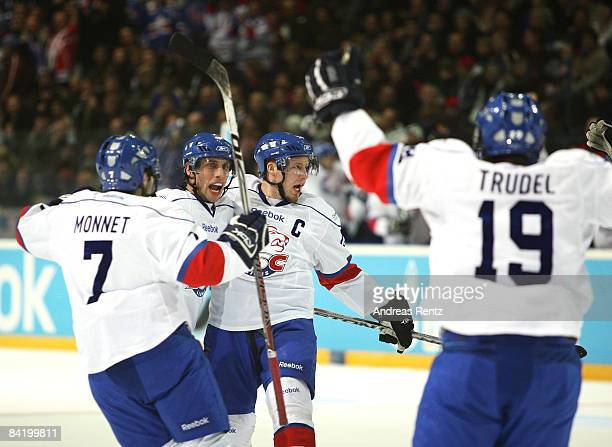 Players of Zurich Lions celebrate the first goal during the IIHF Champions Hockey League semi-final match between Espoo Blues and ZSC Lions Zurich at...